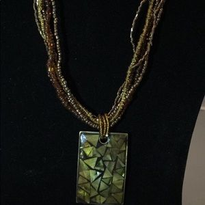Jewelry - Multi strand necklace with rectangle pendant
